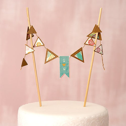 Mini Kraft Paper Pennant Garland Chocolate Brown