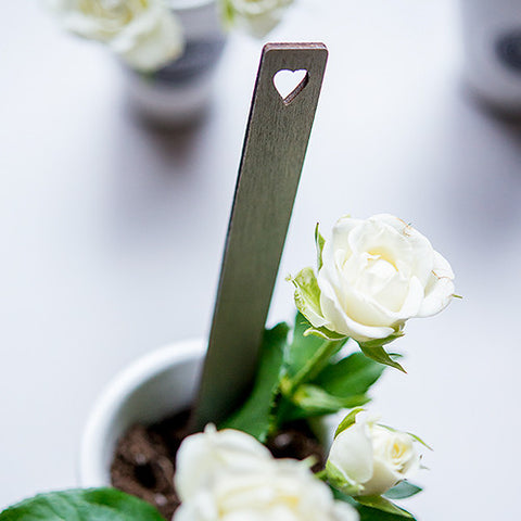 Grey Wooden Stakes with Open Heart Silver - Marry Me Wedding Accessories & Gifts