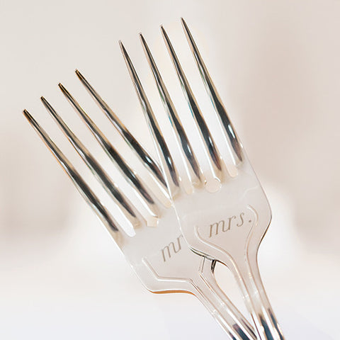 Mr. & Mrs. Cake Fork Set Silver - Marry Me Wedding Accessories & Gifts