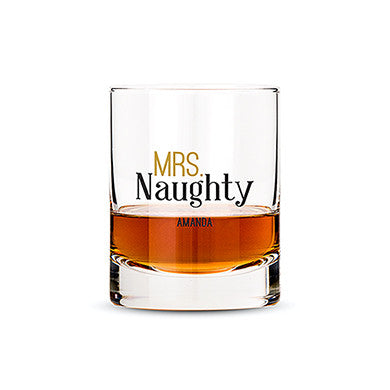 Personalized Whiskey Glasses With Mrs. or Mr. Naughty Print - Marry Me Wedding Accessories & Gifts - 1