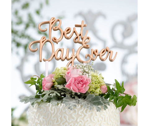 Gold Best Day Ever Wedding Cake Topper - Marry Me Wedding Accessories & Gifts