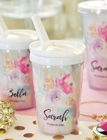 Personalized Flower Girl Sippy Cups - Marry Me Wedding Accessories & Gifts