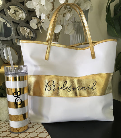 Bridal Party Gold Stripe Bag - Marry Me Wedding Accessories & Gifts - 5
