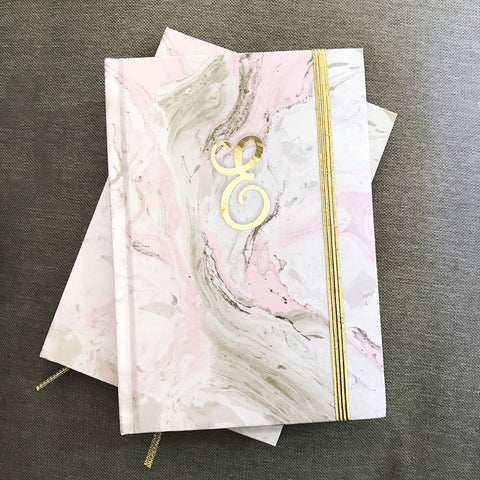 Script Monogram Pink Marble Journals - Marry Me Wedding Accessories & Gifts