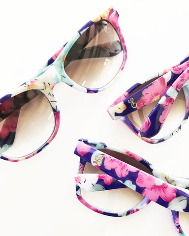 Monogram Floral Bridal Party Sunglasses - Marry Me Wedding Accessories & Gifts