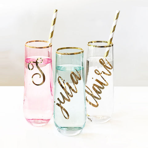 Script Stemless Glasses - Marry Me Wedding Accessories & Gifts