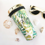 Personalized Tropical Beach Travel Tumblers - Gold Lid - Marry Me Wedding Accessories & Gifts