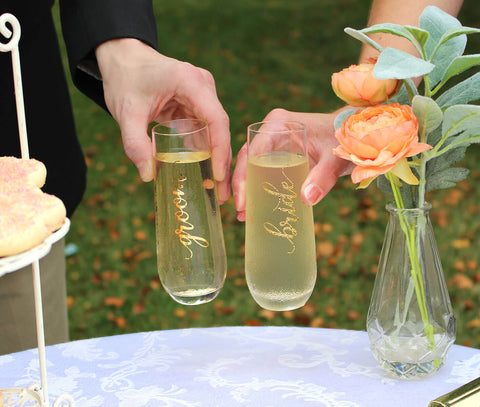 Gold Stemless Champagne Glass Set