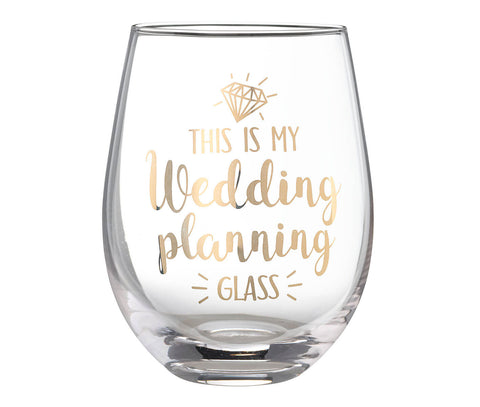 """This is My Wedding Planning Glass"" Stemless Glass - Marry Me Wedding Accessories & Gifts"