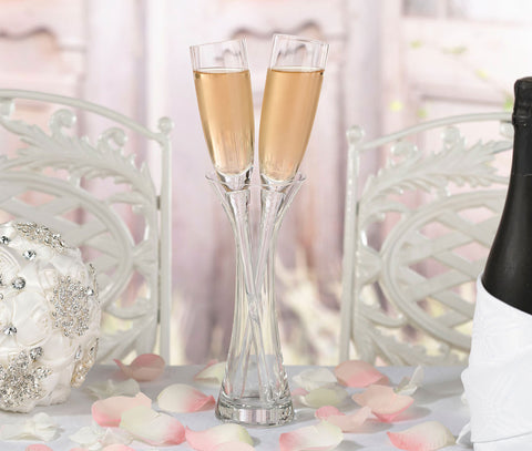 Long Stemmed Toasting Glasses with Vase - Marry Me Wedding Accessories & Gifts