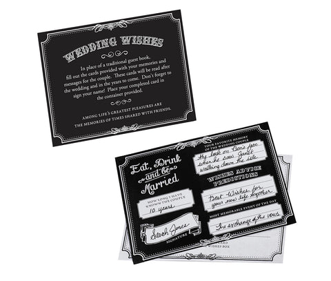 Wishes Cards Black or Tan - Set of 48 - Marry Me Wedding Accessories & Gifts
