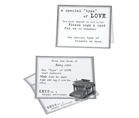 Typewriter Guest Cards - Set of 48 - Marry Me Wedding Accessories & Gifts