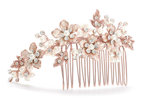 Brushed Rose Gold and Ivory Pearl Wedding Comb
