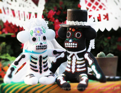 Day of the Dead Bride & Groom Sock Monkeys - Marry Me Wedding Accessories & Gifts