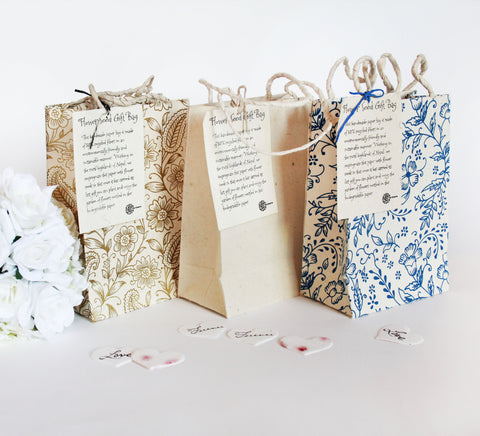 Handmade Seeded Paper Gift Bags - Small