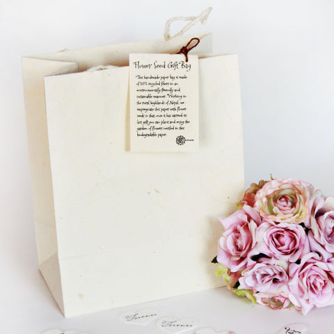 Handmade Seeded Paper Gift Bag - Large - Marry Me Wedding Accessories & Gifts