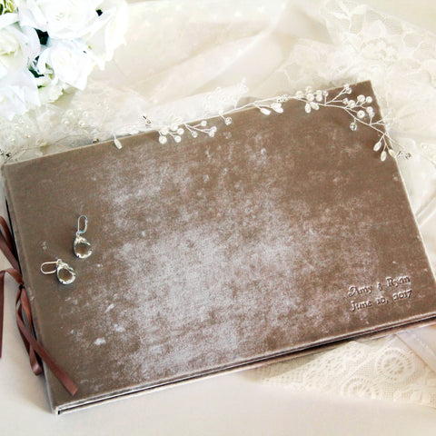 Artisian Velvet Wedding Guest Book or Photo Album