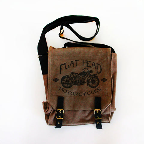 Vintage Field Bag - Flat Head Motorcycles