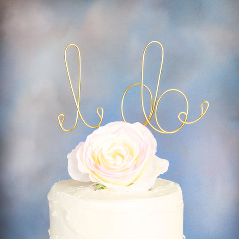 I Do Wire Wedding Cake Topper - Gold