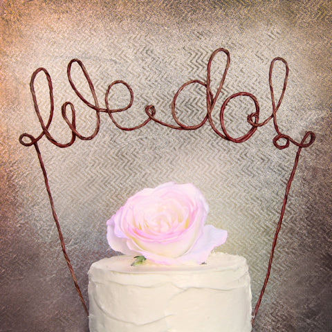 """We Do"" Wire Wedding Cake Topper - Rustic"