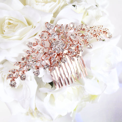 Popular Rose Gold Crystal Wedding or Prom Comb with Shimmering Leaves - Marry Me Wedding Accessories & Gifts