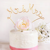 Mr & Mrs Wire Wedding Cake Topper - Gold
