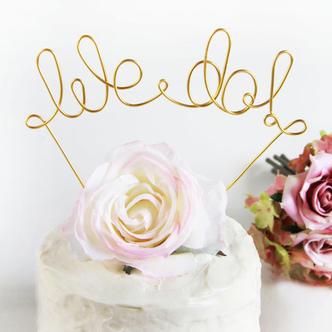 We Do Wire Wedding Cake Topper - Gold - Marry Me Wedding Accessories & Gifts