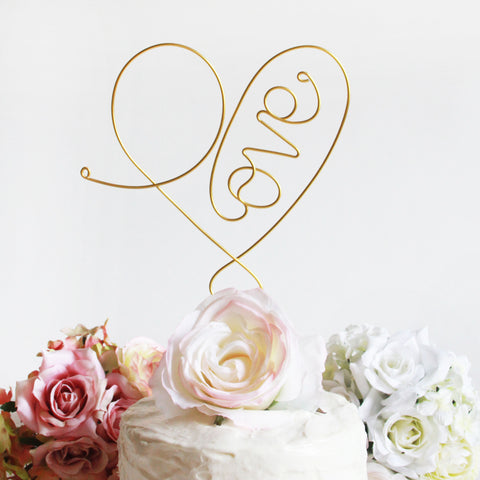 Stylized Love Heart Wedding Cake Topper - Marry Me Wedding Accessories & Gifts