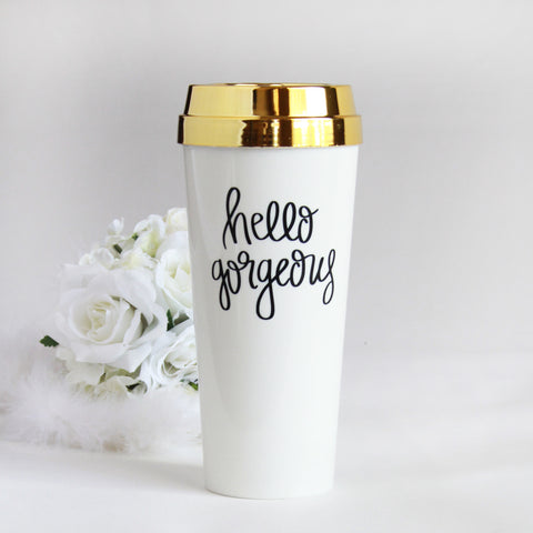 Hello Gorgeous Gold Lid Travel Mug - Marry Me Wedding Accessories & Gifts