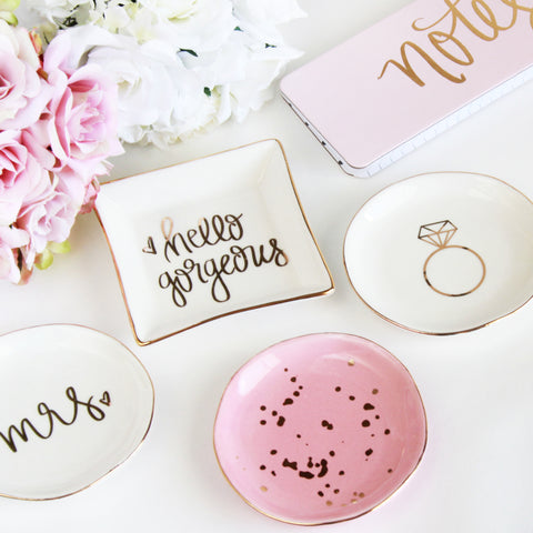 Gold Foil Jewelry Dishes - Marry Me Wedding Accessories & Gifts