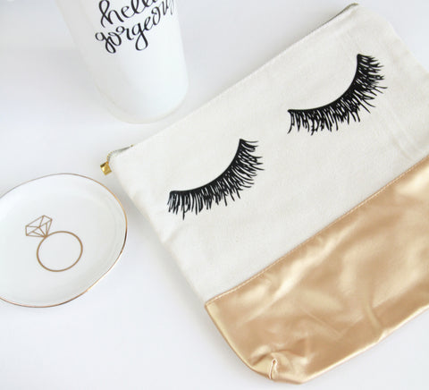 Eyelash Gold Leather Makeup Bag - Marry Me Wedding Accessories & Gifts