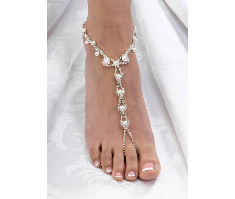 Set of 2 Pearl and Rhinestone Foot Jewelry - Marry Me Wedding Accessories & Gifts - 1