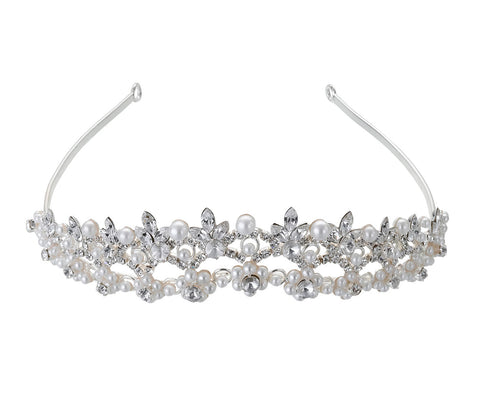 Pearl Flower Rhinestone Tiara - Marry Me Wedding Accessories & Gifts