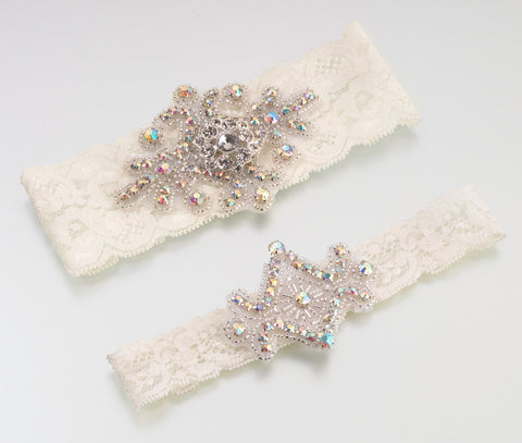 Jeweled Garter Set - Ivory or White - Marry Me Wedding Accessories & Gifts