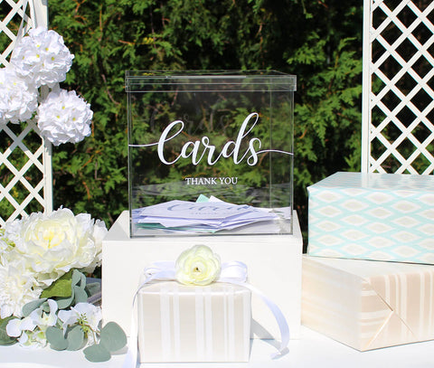 Clear Acrylic Thank You Wedding Card Box with Slot on the Lid