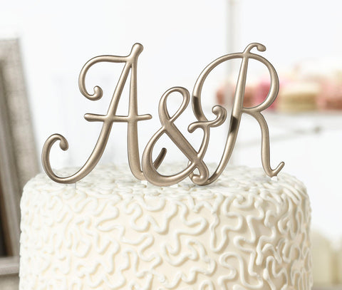 Gold Monogram Letter Cake Topper - Marry Me Wedding Accessories & Gifts