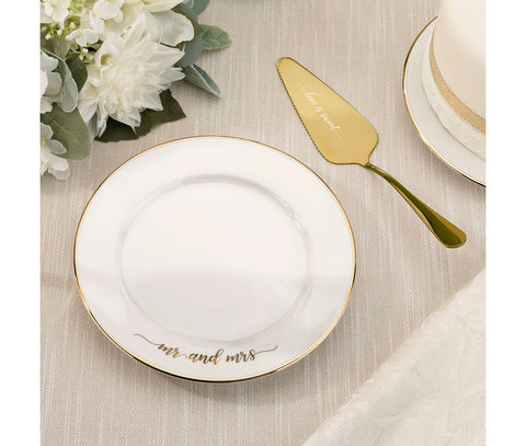 Mr and Mrs Cake Plate and Server Wedding Cake Knife Alternative Set - Marry Me Wedding Accessories & Gifts