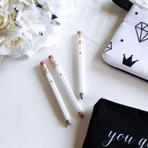 Gold Foil White Mini Pencils