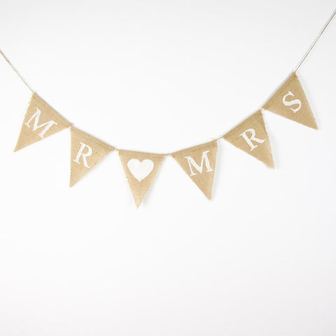 "Burlap ""Just Married"" or ""Mr & Mrs"" Banner - Marry Me Wedding Accessories & Gifts"
