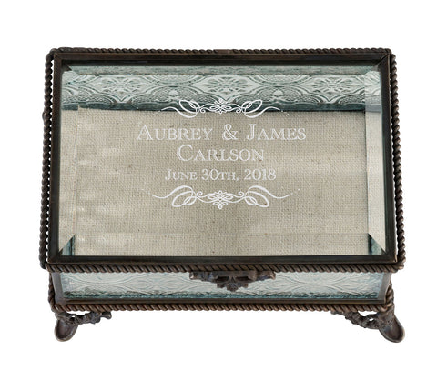 Rustic Rectangular Glass Ring Box - Marry Me Wedding Accessories & Gifts