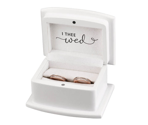 "White Ring Box ring pillow alternative ""With These Ring, I Thee Wed"" - Marry Me Wedding Accessories & Gifts"