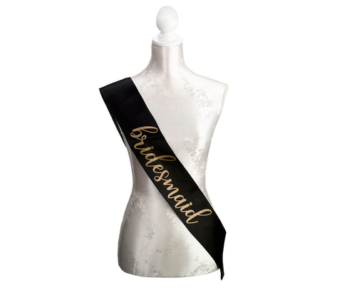 Black & Gold Satin Bridesmaid & Maid of Honor Sashes - Marry Me Wedding Accessories & Gifts
