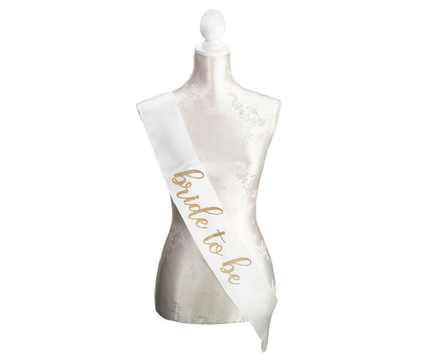 Ivory & Gold Bride-To-Be Sash - Marry Me Wedding Accessories & Gifts