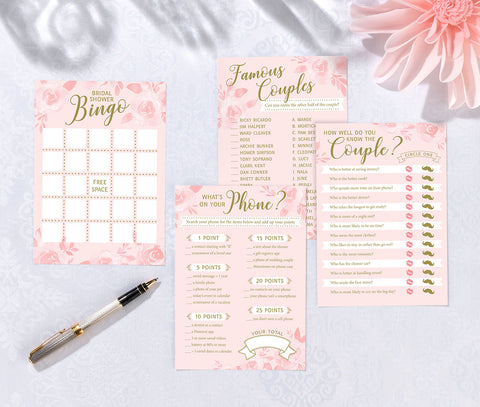 Set of 4 Bridal Shower Games - Marry Me Wedding Accessories & Gifts