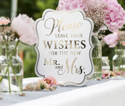 Set of 5 White & Gold Wedding Signs - Marry Me Wedding Accessories & Gifts