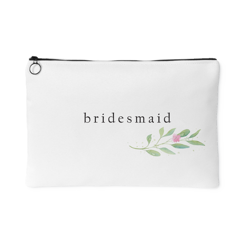 Minimalist Watercolor Floral Accessory Bag - Bridesmaid - Marry Me Wedding Accessories & Gifts