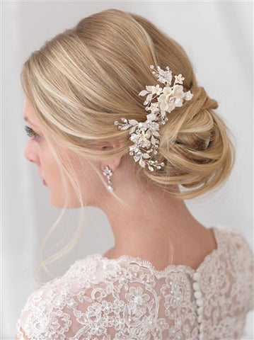 Ivory & Floral Bridal Clip - Marry Me Wedding Accessories & Gifts
