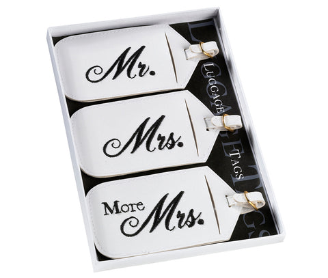 Set of 3 Mr. & Mrs. Luggage Tags - Marry Me Wedding Accessories & Gifts