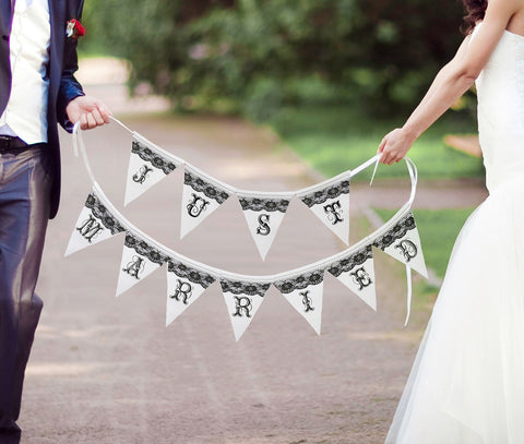 Just Married Black and White Banner - Marry Me Wedding Accessories & Gifts