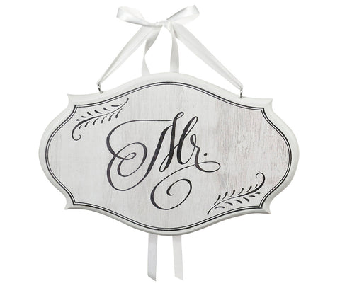 Mr. & Mrs. Oval Sign - White - Marry Me Wedding Accessories & Gifts
